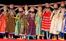 Colorful Indian Puppets At Local Market In Jaipur City Palace, India
