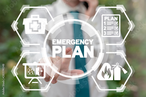 Fotomural  Emergency Preparedness Checklist Plan Business Evacuation Training concept