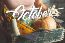 October Text On Autumn Vegetab...