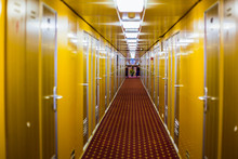 Long Corridor Of Cruise Ship