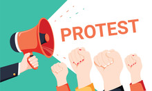 Male Hand Holding Megaphone With Protest Speech Bubble. Loudspeaker. Banner For Business, Marketing And Advertising.