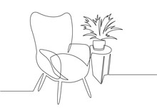 Continuous One Line Drawing Armchair. Stylish Office Interior, Chair And Home Plant Vector Hand Drawn Silhouette Clipart.