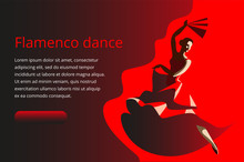 A Slender Woman With A Fan Dancing Flamenco. Banner Or Invitation Card Template.