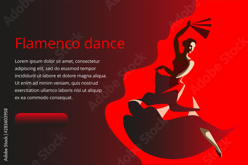 Fototapeta  A slender woman with a fan dancing flamenco