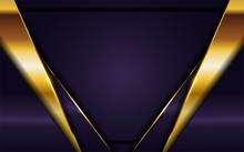 Luxurious Dark Purple Background With Golden Lines Combination. Elegant Modern Background.