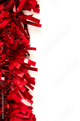 Christmas red decor on the white background. The place for your text and design. Isolated. - 283608731