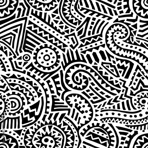 Fototapety, obrazy: Black and white tribal pattern. Ethnic and aztec motifs. Bohemian print for textiles. Vector illustration.