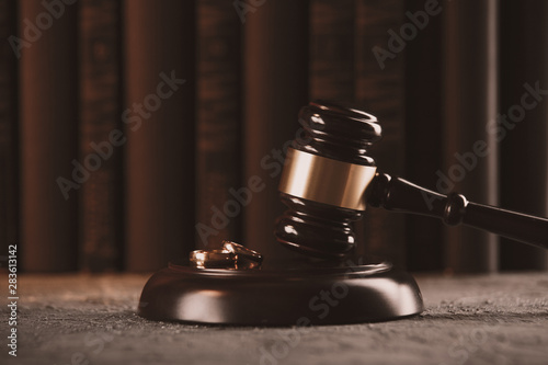 Canvas Print Attorney and notary concept. Wooden gavel on the table