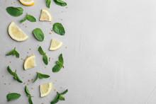 Fresh Mint With Sliced Lemon A...