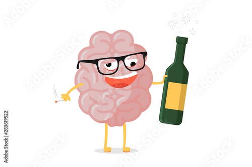 Fotografía Funny cartoon unhealthy brain character