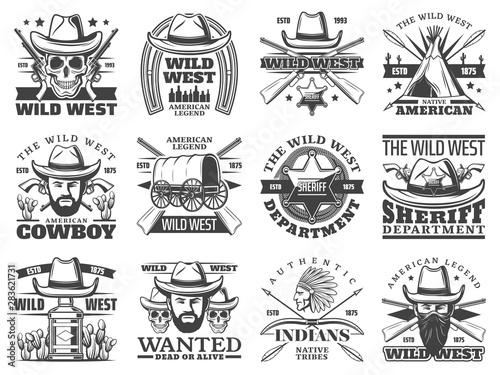 Fotografia Wild West icons of cowboy, skull, sheriff, bandit