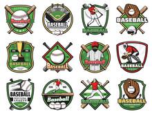 Baseball Sport Balls, Bats, Players, Stadium Field