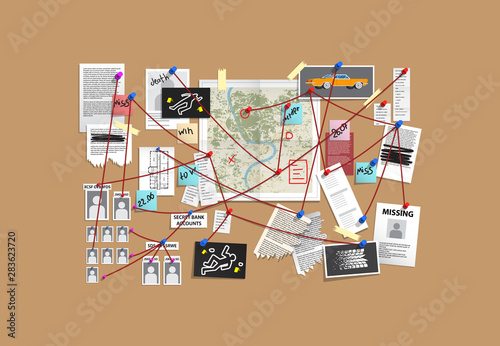 Detective Board with pins and evidence, crime investigation Canvas Print
