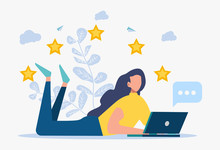 Colorful Illustration On White Background. The Best Performance Score, A Score Of Five. People Leave Reviews And Comments, The Highest Rating For Successful Work. Vector Flat Illustration.