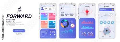 Fitness App Screens, UI, UX, KIT, GUI in flat style Wallpaper Mural