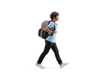 Schoolboy With A Backpack Walk...