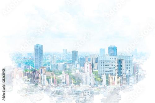 Fototapeta 東京風景 Tokyo city skyline , Japan. Illustration of watercolor painting style. obraz