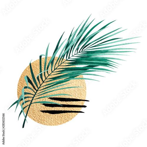 abstrakcjonistyczny-sklad-tropikalnej-rosliny-palmowej-zloty-kontur-figury-geometryczne-i-wzor-zwierzat