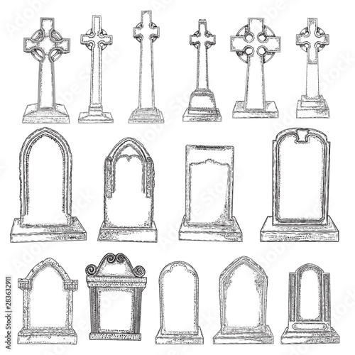 Gravestones set drawing Canvas Print