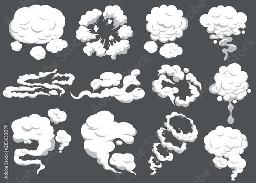 Cartoon smoke set. Smoking car motion clouds cooking smog smell. Explosion cloud. Vector