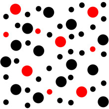 Black And Red Chaotic Dots, Vector Abstract Seamless Pattern