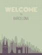 Placard with famous Barcelona city scape.