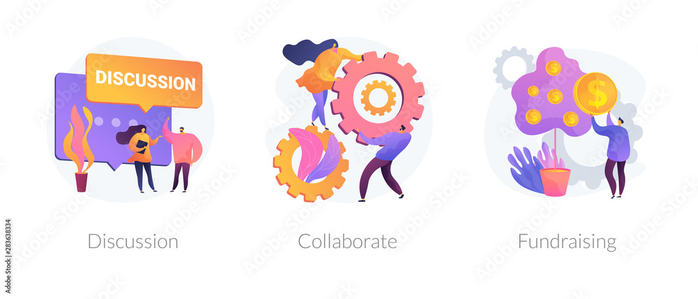 Fototapeta Teamwork and coworking web banners set. Online business conference, money investment. Discussion, collaboration, fundraising metaphors. Vector isolated concept metaphor illustrations