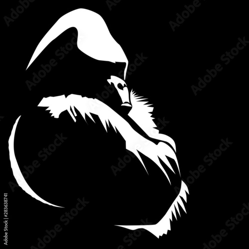 фотография An illustration from a photo I took of a gorilla sitting with his arms crossed