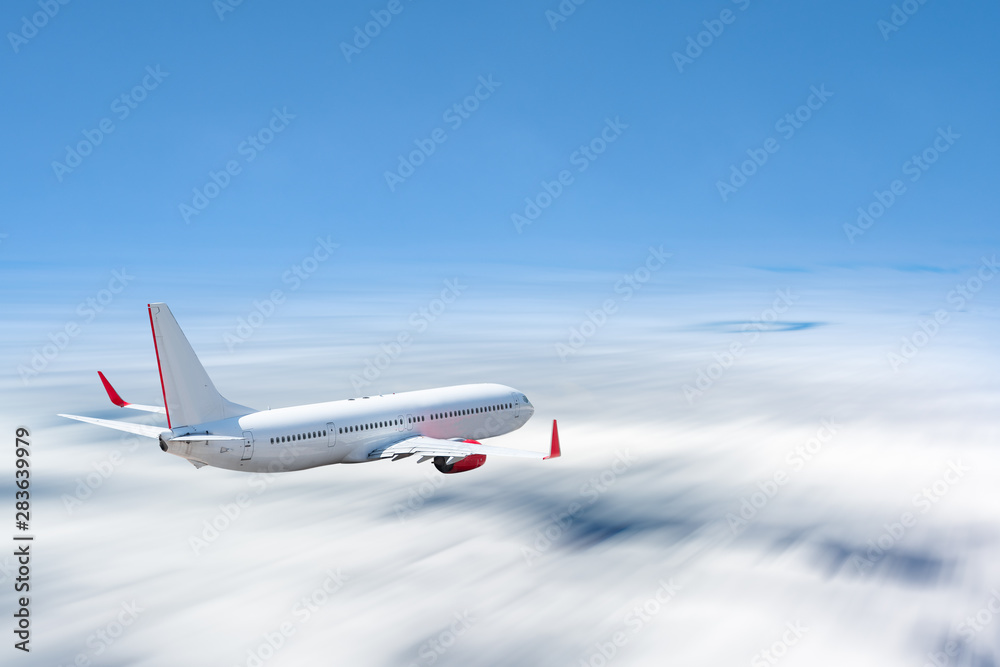 Fototapety, obrazy: White airplane flying above cloud at daytime with motion blur effect