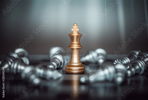 Canvas Print King chess battle on chessboard,Concept for business strategy and tactic battle,Success, business strategy