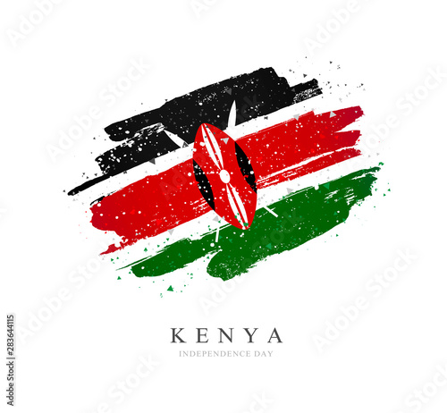 Photographie Kenya flag. Vector illustration on a white background.