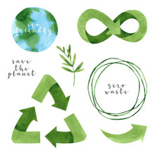 Watercolor Recycling Signs And Sprig With Leaves Isolated On White Background. Hand Drawn Reuse Symbol For Ecological Design. Zero Waste Lifestyle.
