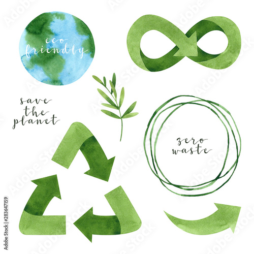 Watercolor recycling signs and sprig with leaves isolated on white background. Hand drawn reuse symbol for ecological design. Zero waste lifestyle.  Wall mural