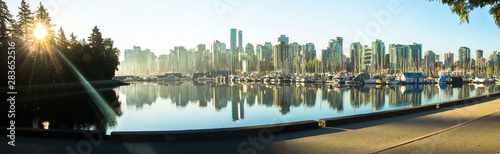 Fototapety, obrazy: Sunrise panoramic view of Vancouver skyline as seen from Stanley Park, British Columbia, Canada.