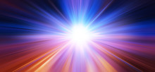 Banner Wide Of Fast Speed Blur Zoom Blue Light Business Perform Concept Abstract For Background.