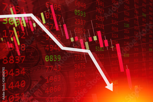 Obraz economic crisis stock chart falling down business global money bankruptcy concept - fototapety do salonu