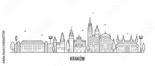 Krakow skyline Poland illustration city a vector