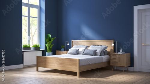 Fotografija Modern scandinavian  interior of Bedroom ,wood bed and bedside table on dark blu
