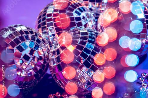Party lights disco ball close up. Disco concept - 283660174