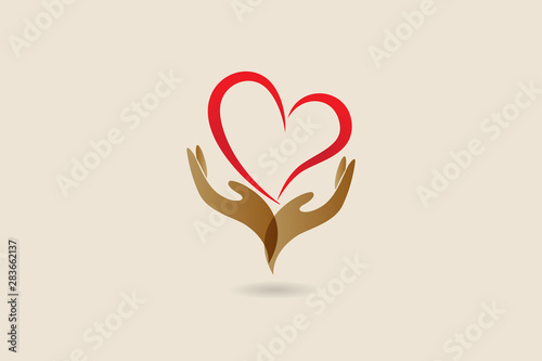 Photo Hands and love heart logo vector