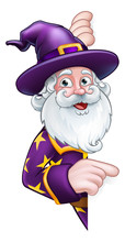 A Wizard Merlin Magician Halloween Cartoon Character Peeping Around A Sign Pointing