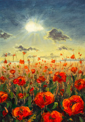 FototapetaField of red poppies flowers Impressionism modern oil painting - red flowers poppies Sun rays and clouds illustration. Flower modern landscape artwork for poster, fabric, invitation background