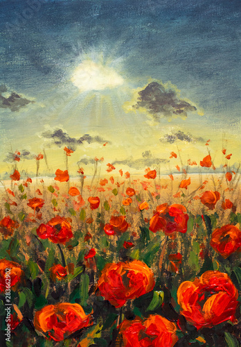 Obraz maki   field-of-red-poppies-flowers-impressionism-modern-oil-painting-red-flowers-poppies-sun-rays