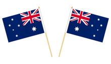 Two Small Australian Flags Isolated On White Background, Vector Illustration. Mini Flag Of Australia On Pole