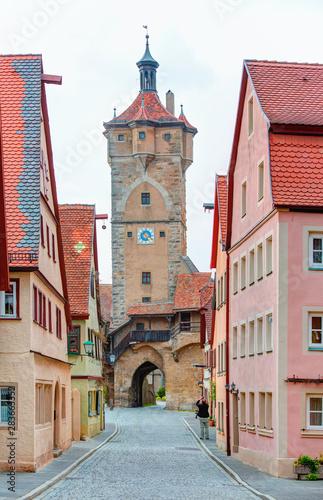 Obraz na plátně  Historic town at Rothenburg Ob Der Tauber, Franconia, Bavaria, Germany
