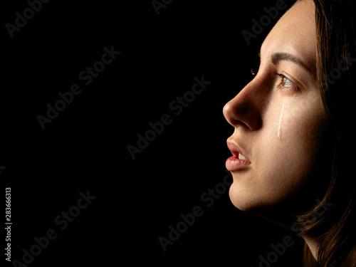 sad crying girl Tablou Canvas