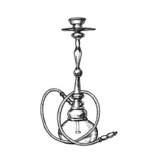Smoking Hookah Lounge Cafe Instrument Retro Vector. Arabia Oriental Relaxation Smoking Aroma Flavored Tobacco Or Cannabis Equipment Hookah. Black And White Hand Drawn In Vintage Style Illustration