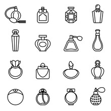 Perfume Bottle Icon Set With White Background. Thin Line Style Stock Vector.