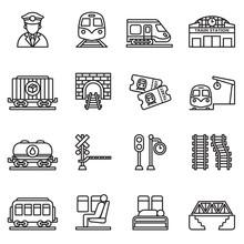 Train And Railways Icon Set Wi...