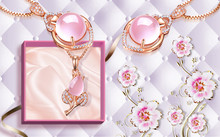 3d Illustration, White Background, Upholstery, Pink Abstract Flowers, Gold Necklace With Pink Stones